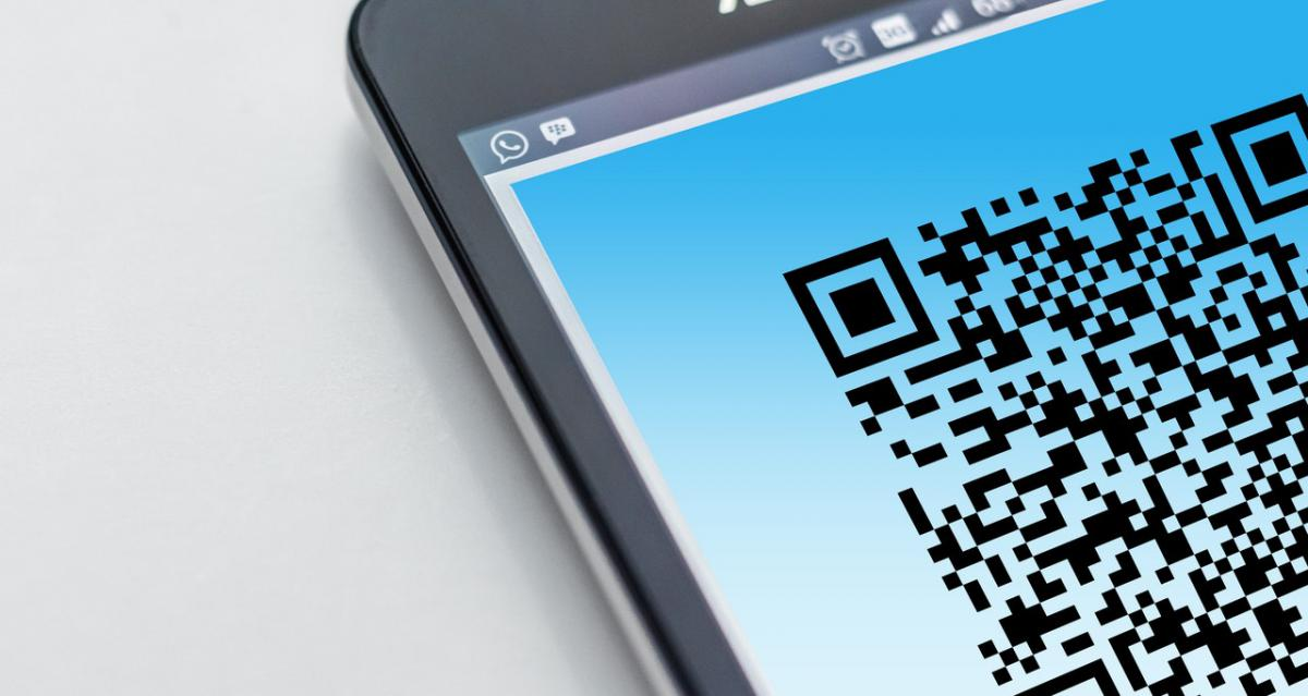 QR code on cell phone screen